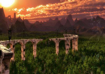 Landscape; Forest; Mountains; Old Bridge; Sundown; Atmosphere