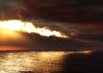 Seascape; Water; Evening Light; Godrays