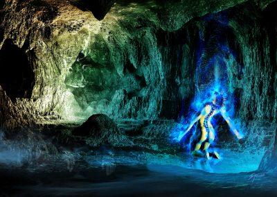 Space; Sci-Fi; Mystic; DarkArt; Cave; Blue Light