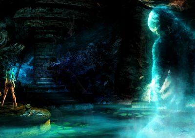 Fantasy; Dungeon; DarkArt; Waterghost; Servant; Blue Light