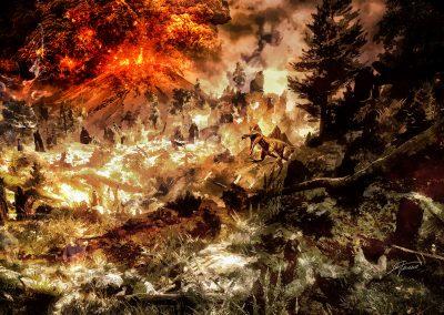 Landscape; Primeval Times; DarkArt; Dinosaur; Vulcan; Explosion