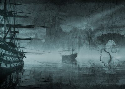 Seascape; DarkArt; Water; Sailing Ships; Map; Stains