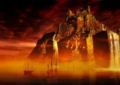 Seascape; Water; DarkArt; Sailing Ships; Island; Skull