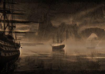 Seascape; DarkArt; Water; Sailing Ships; Map; Glowing