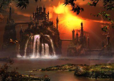 Fantasy; Castle; Landscape; Waterfalls; Sunset