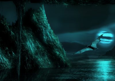 DarkArt; Bat; Fullmoon; Night; Cave; Reflection