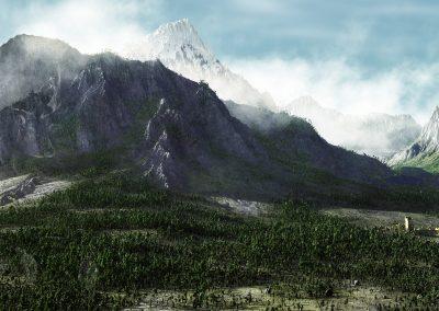 Landscape; Mountains; Clouds; Haze; Mist
