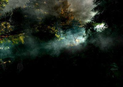 Landscape; DarkArt; Forest; Morning Light; Dust; Mist