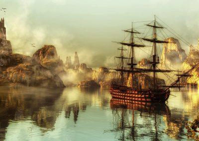 Seascape; Bay; Water; Sea; Sailing Ship; Reflection; Ruins; Haze; Mist