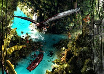 Landscape; Cave; Water; Waterfalls; Ship; Jungle;