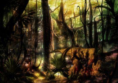 Landscape; DarkArt; Primeval Times; Jurassic; T - Rex; Fight; Blood;
