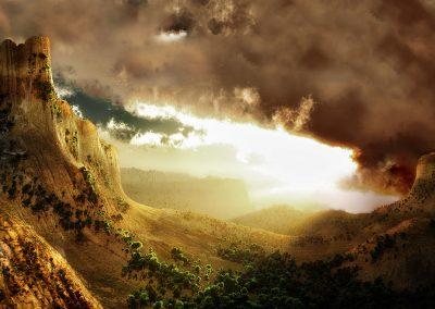 Landscape; Mountains; Burning Sky; Clouds