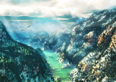 Landscape; Canyon; River; Mountains; Clouds; Fog