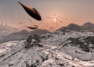 Landscape; Winter; Airship; Mountains; Castles; Birds; Snow; Ice; Cold
