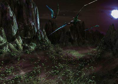 Landscape; DarkArt; Primeval Times; Zhenyuanopterus; Pterosaur