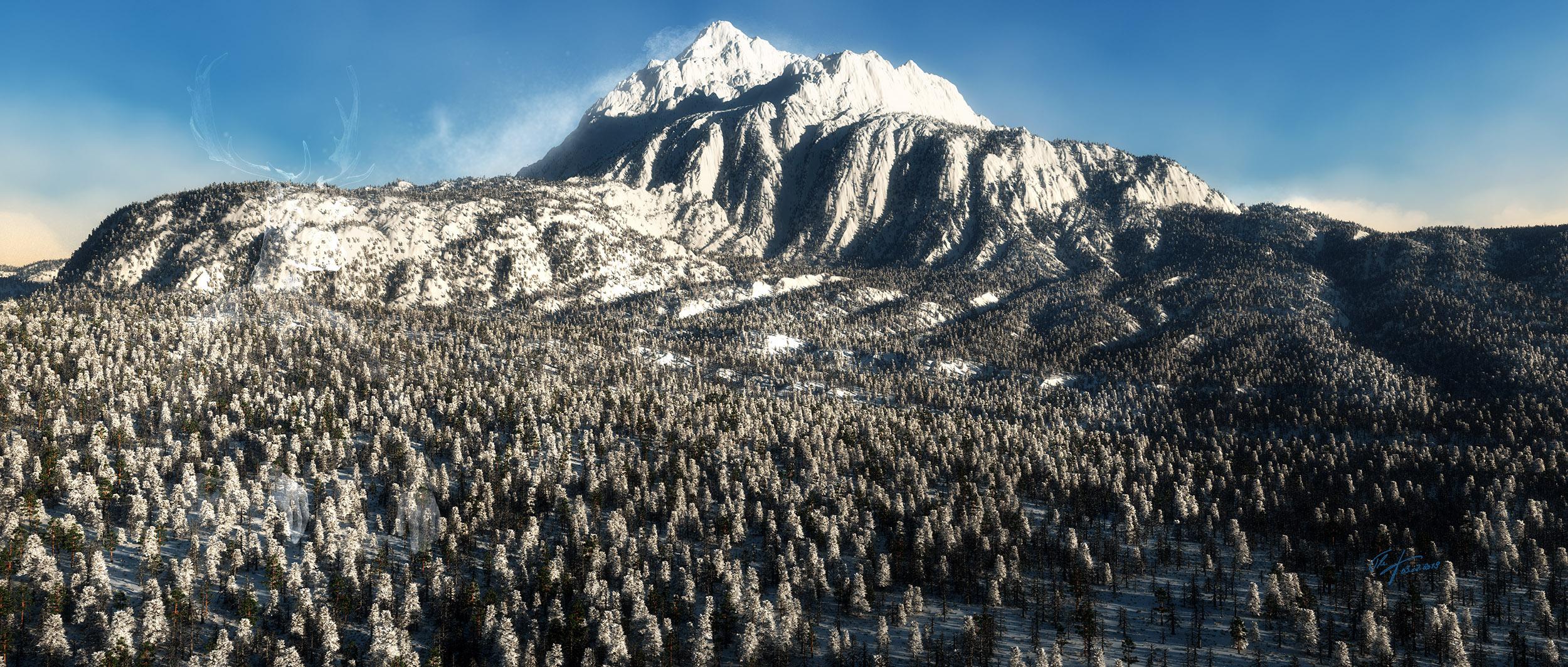 Landscape; Mountain; Winter; Fall Wind