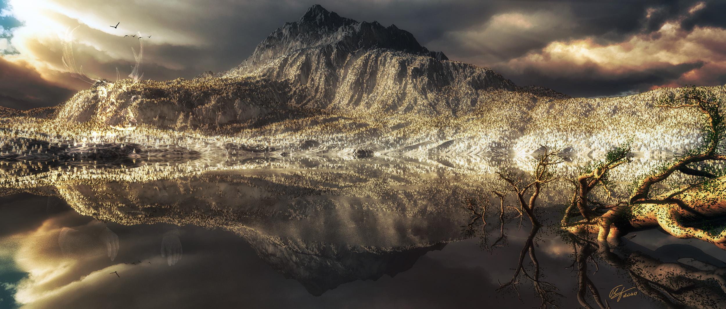 MWD 91; Landscape; Mountain; Water; Sea; Mountainlake; Dark Clouds
