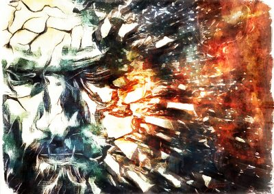 DarkArt; Grunge; Viking; Face; Shattered; Splinter; Explosion