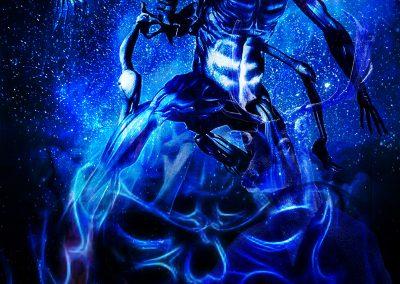 DarkArt; Blue; Night; Skull; Grim Reaper; Thanatos